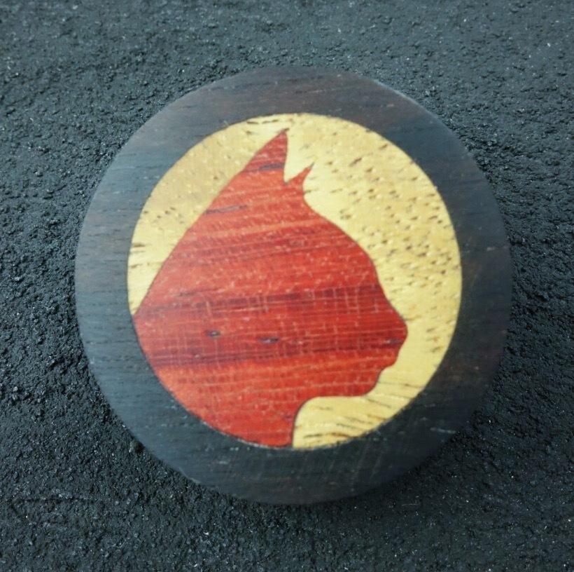wooden inlaid charm  IB-001-EB