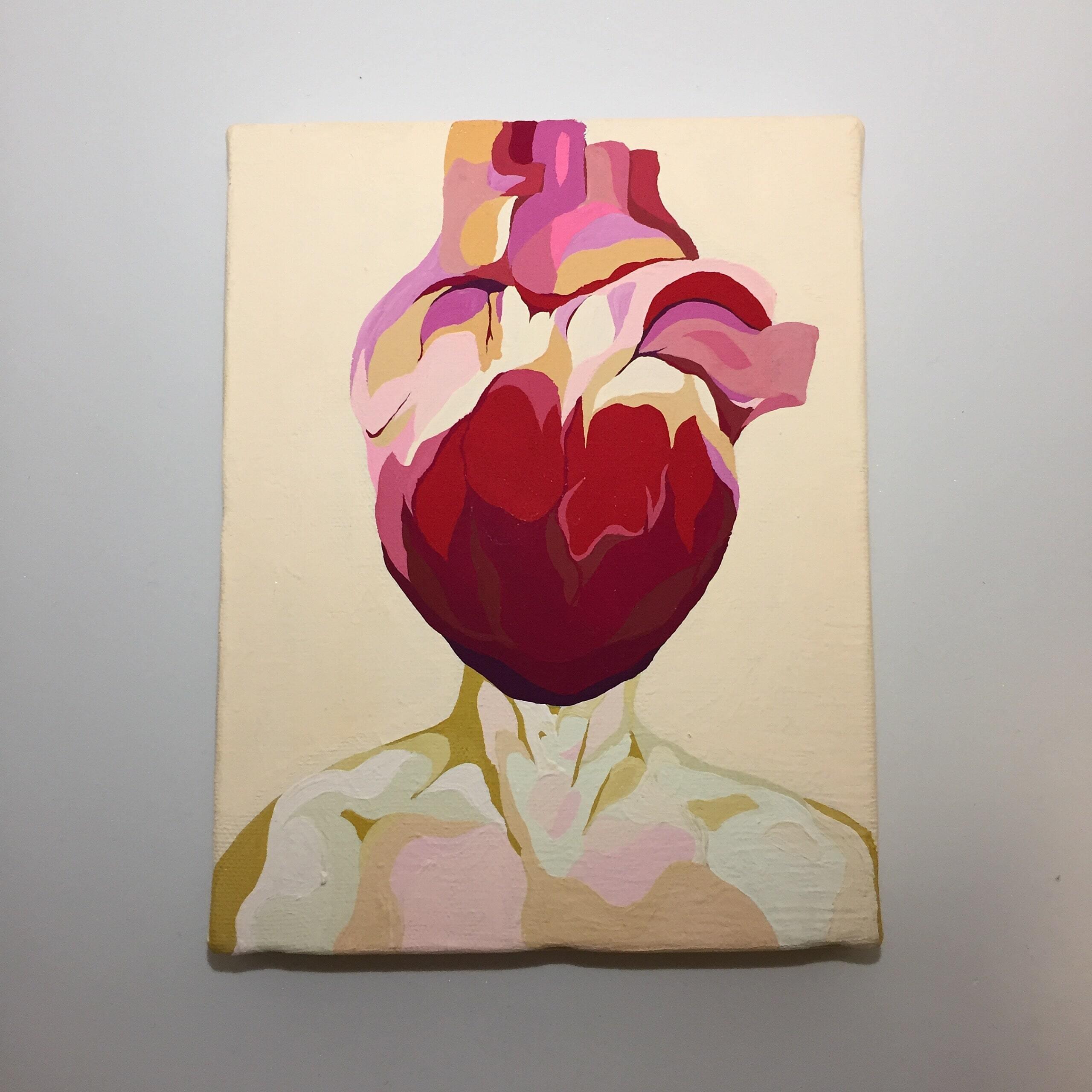 HEART HUMAN NUDE #2(2019) / 18cm×14cm / Acrylic painting / Original Drawing