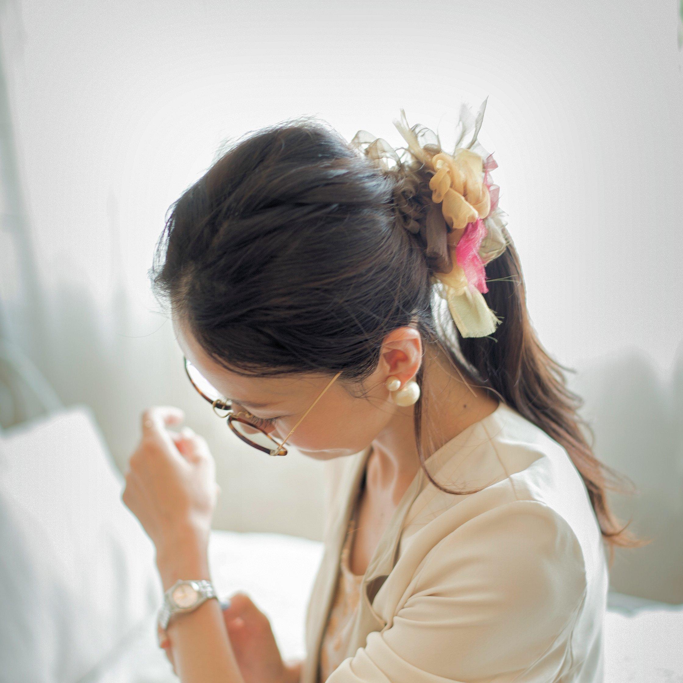 カフェ~彩る咲き編みシュシュ