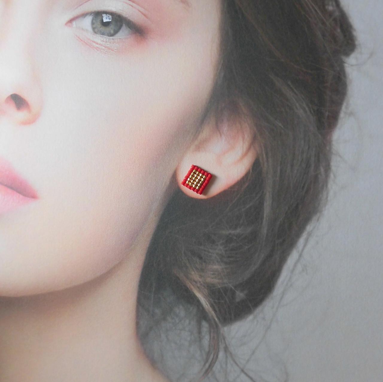 manokoko 四角miniビーズ ピアス 【14KGF】 ハンドメイド アクセサリー