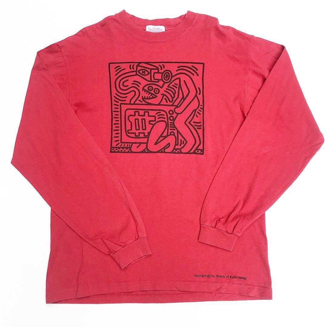 【Used / ロンT】   Keith Haring / キース・ヘリング ロンT 赤 L
