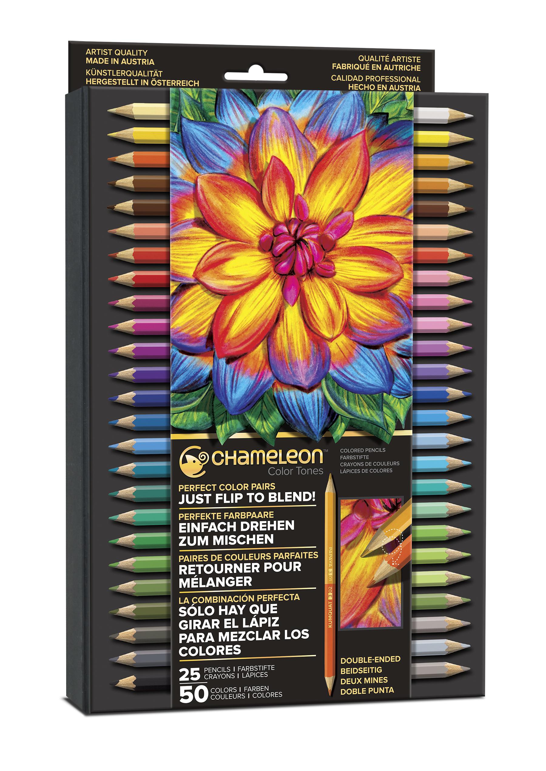 Chameleon 25 Pencils 50 Colors Set (カメレオン 25本入り50色 色鉛筆セット)