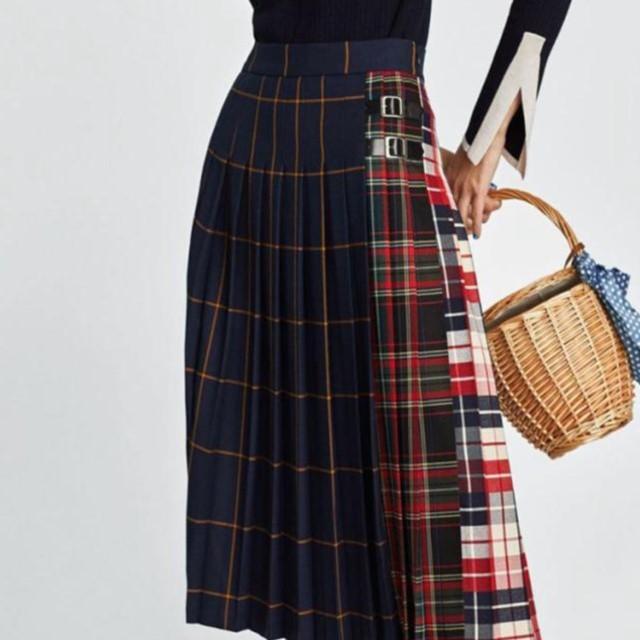 春夏のおすすめ☆ サイドベルト チェック柄 切り替え プリーツ フレア スカート