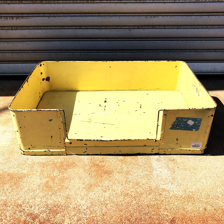 品番3939 メタルケース スクエアボックス イエロー スチール製 ヴィンテージ