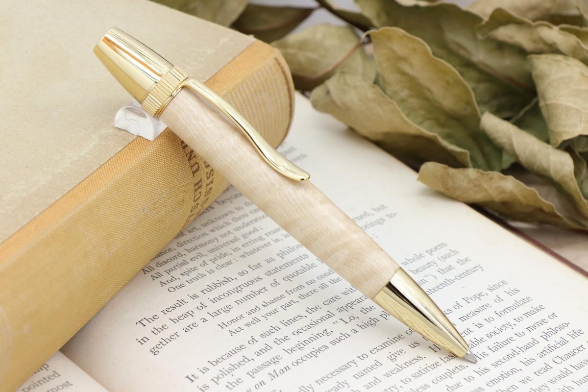 在庫あり「Chouette・絹の光沢 栃の木 縮杢 特上」希少木の手作りボールペンViriditas♬ジェットストリーム芯対応