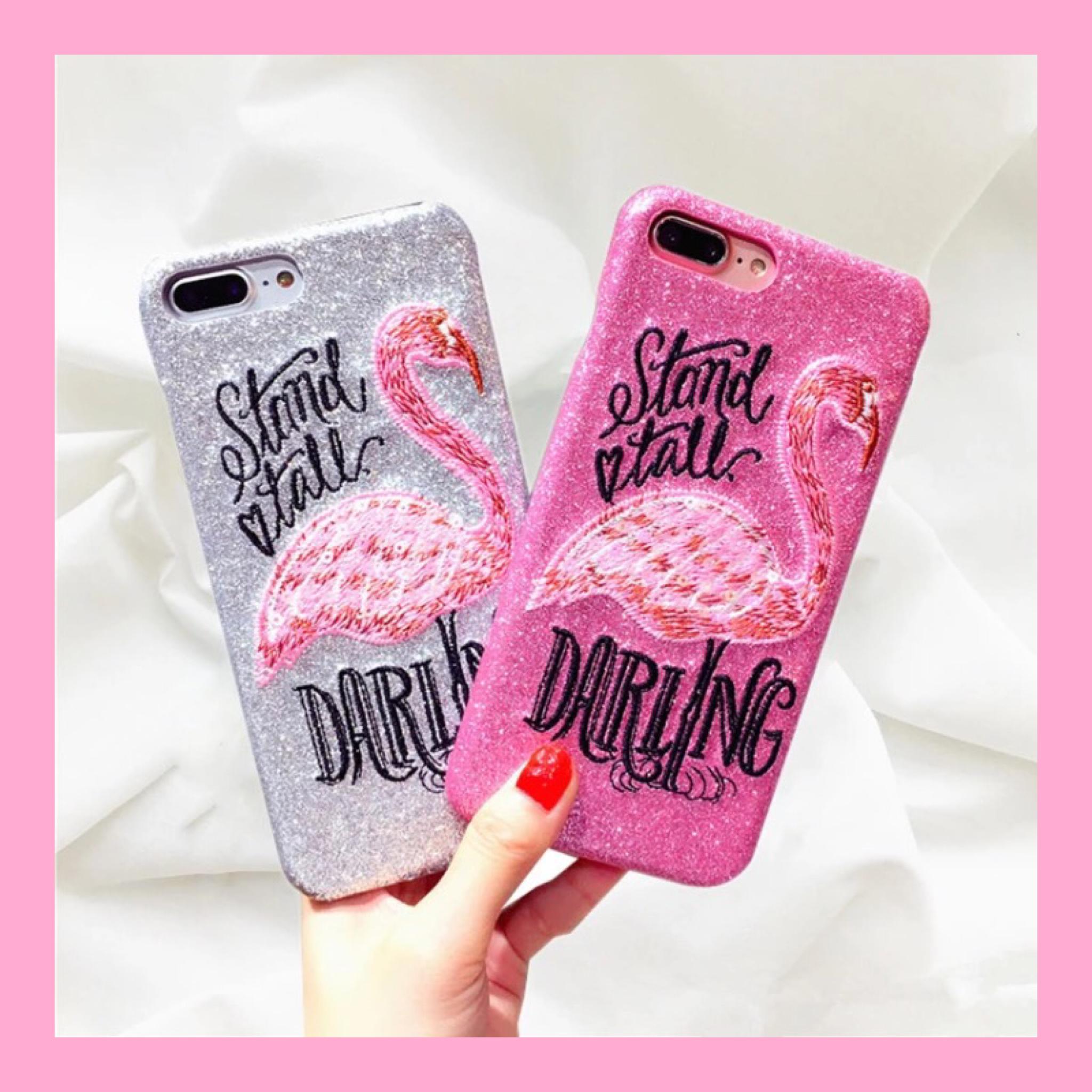フラミンゴ刺繍 ラメ iPhone case