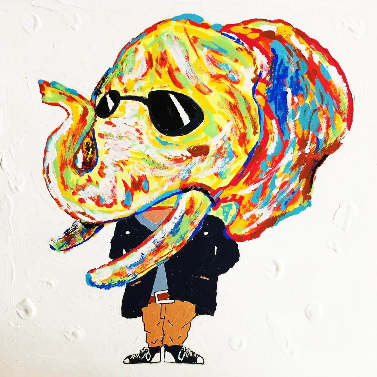 絵画 インテリア アートパネル 雑貨 壁掛け 置物 おしゃれ アクリル画 イラスト ゾウ 動物 ロココロ 画家 : yuki 作品 : 威圧