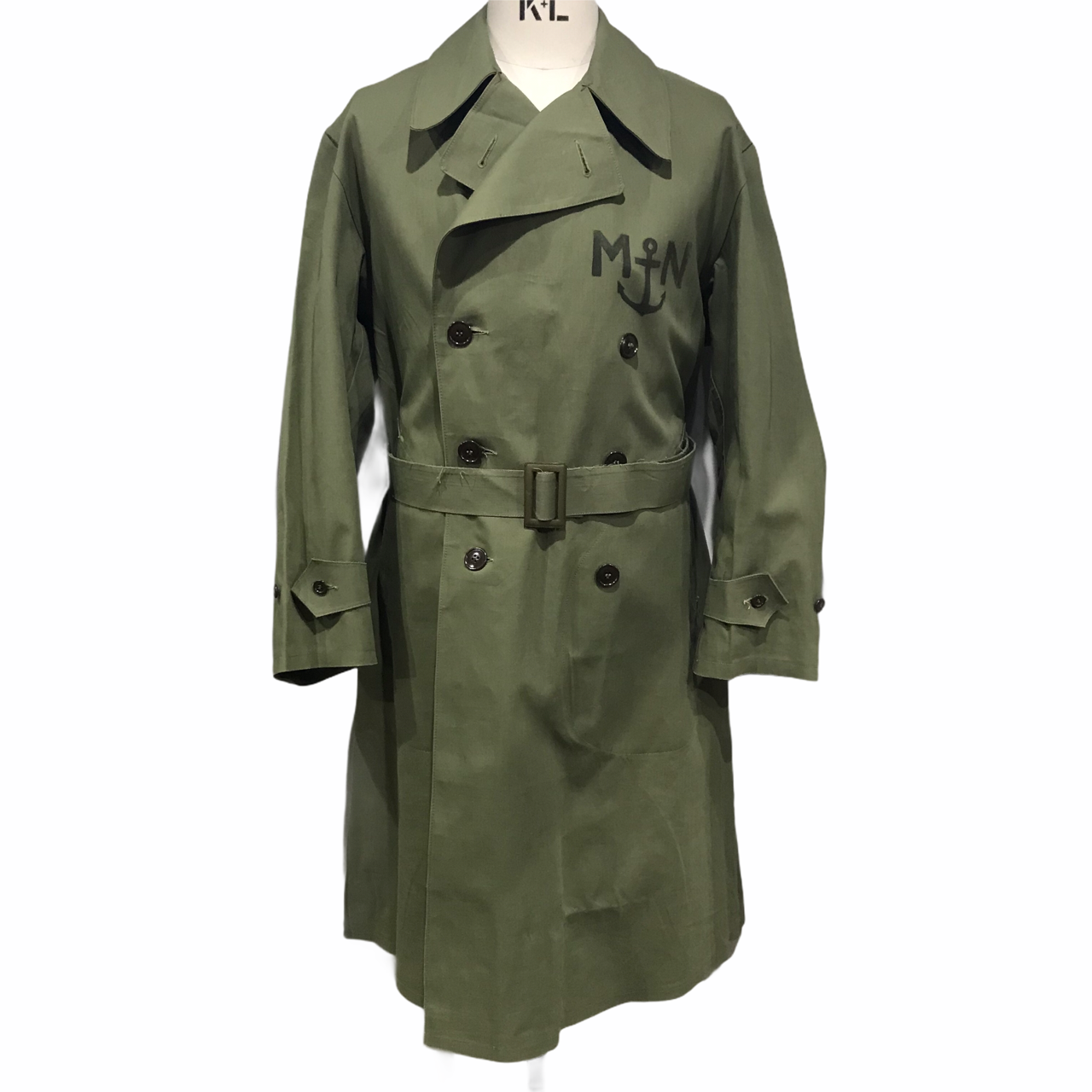 50's French military Marine National cotton&rubber trench coat