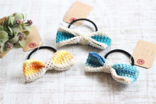 リボンヘアゴム*手編み イエロー・ブルー/sakura