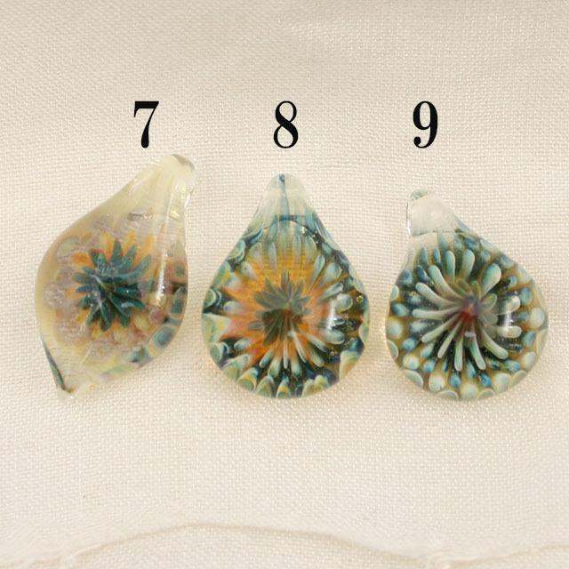 【1点もの/MAHAO/高品質】パイレックスガラスペンダント Green Fana(1つ選んでください)