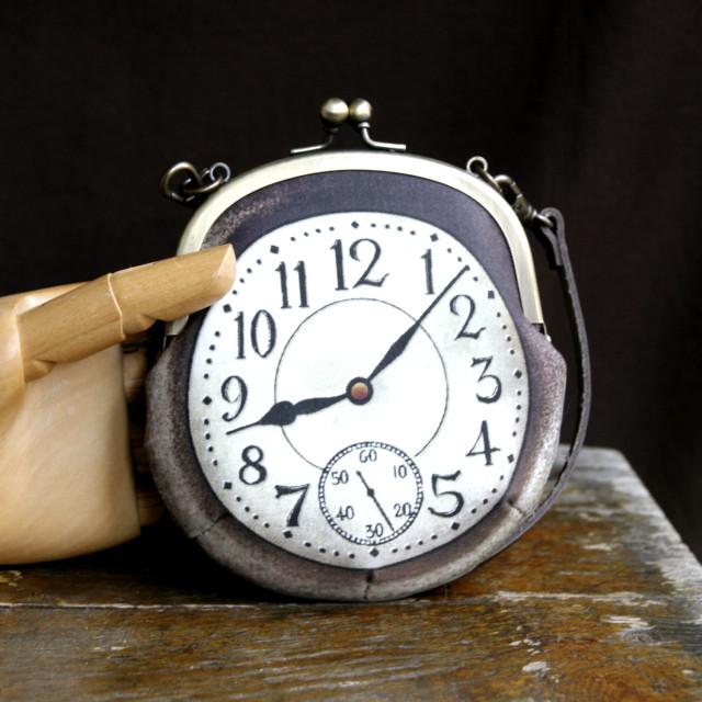 【即納】時計がま口 持ち手つきカードケース アラビア数字銀時計 - 金星灯百貨店
