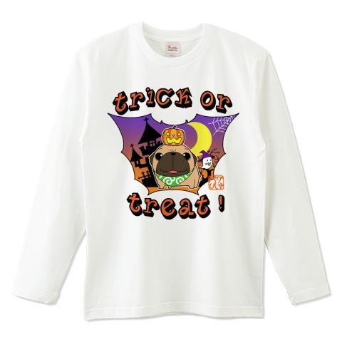 サイズ豊富 ハロウィンパグ 長袖白Tシャツ(フォーン)(ぱぐ グッズ)