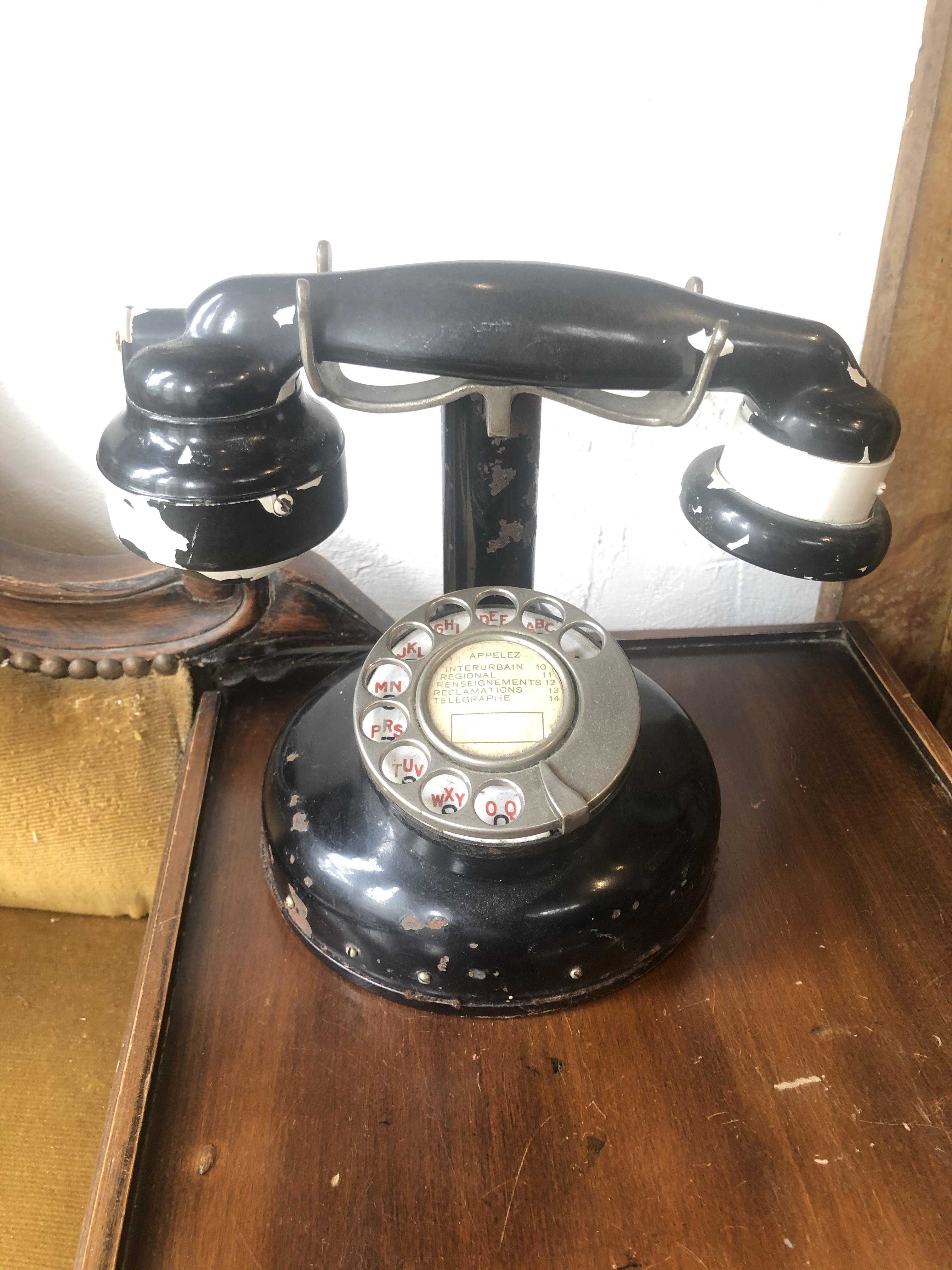 フランスアンティーク レトロな黒電話