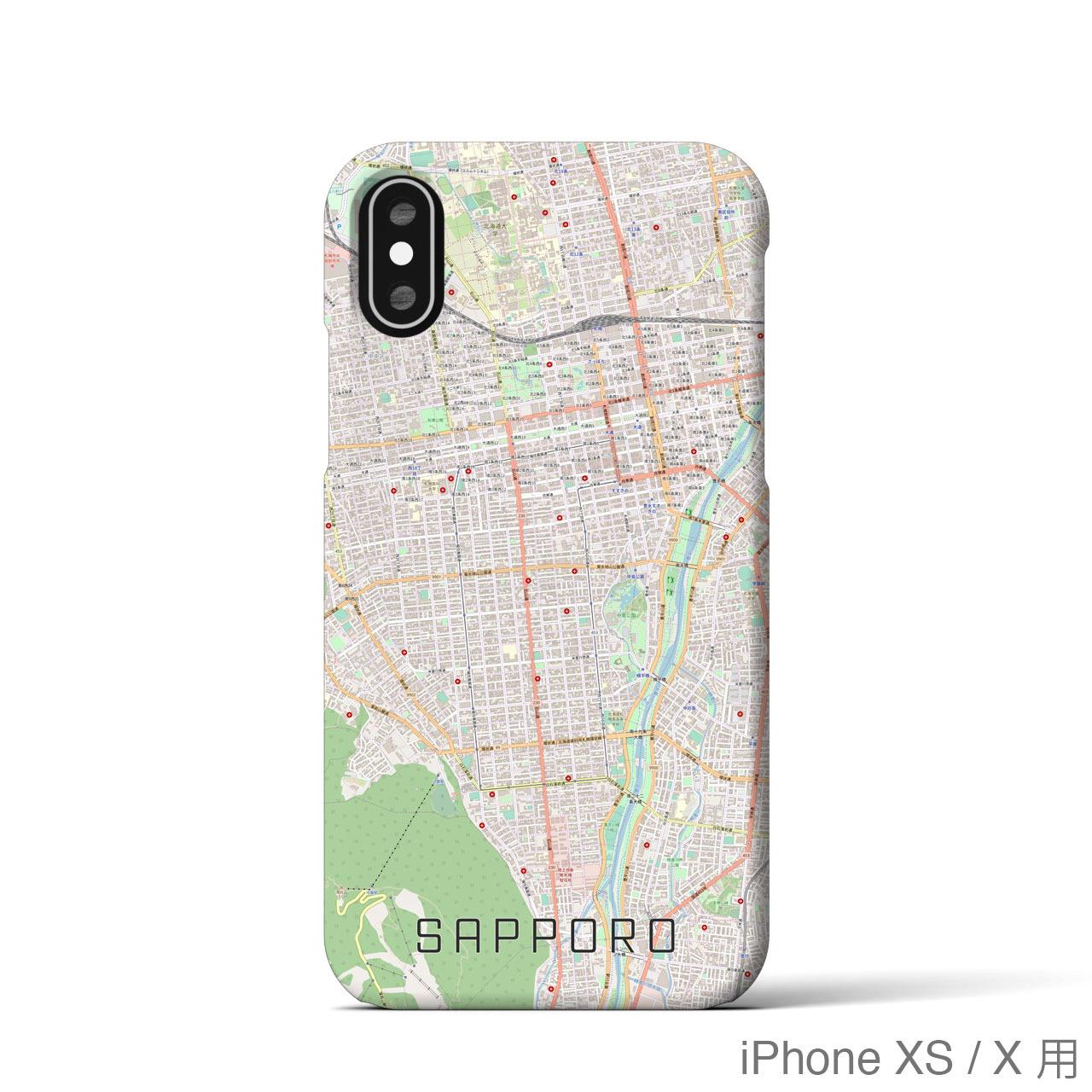 【札幌】地図柄iPhoneケース(バックカバータイプ・ナチュラル)