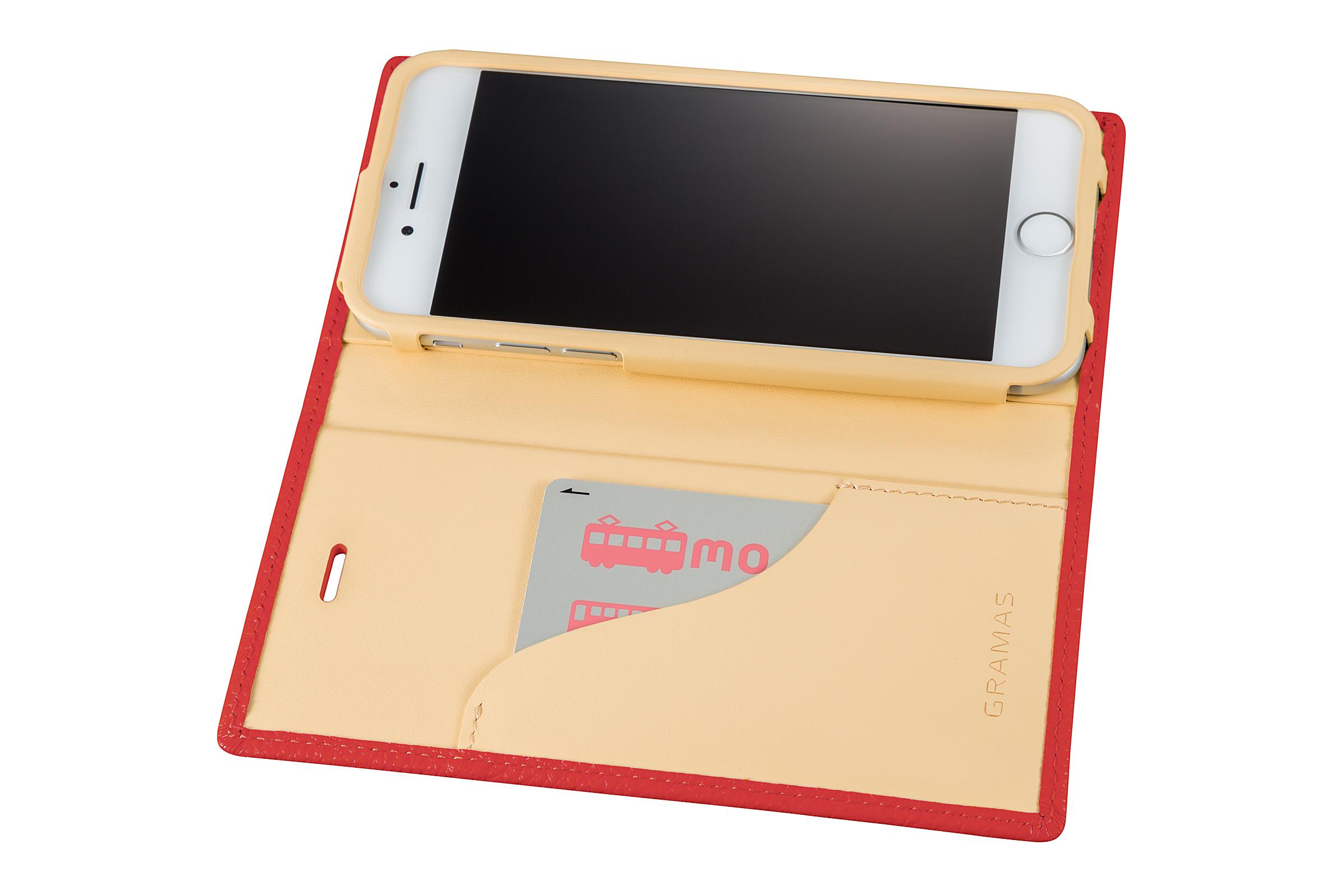 GRAMAS Shrunken-calf Full Leather Case for iPhone 7(Pink) シュランケンカーフ 手帳型フルレザーケース - 画像4
