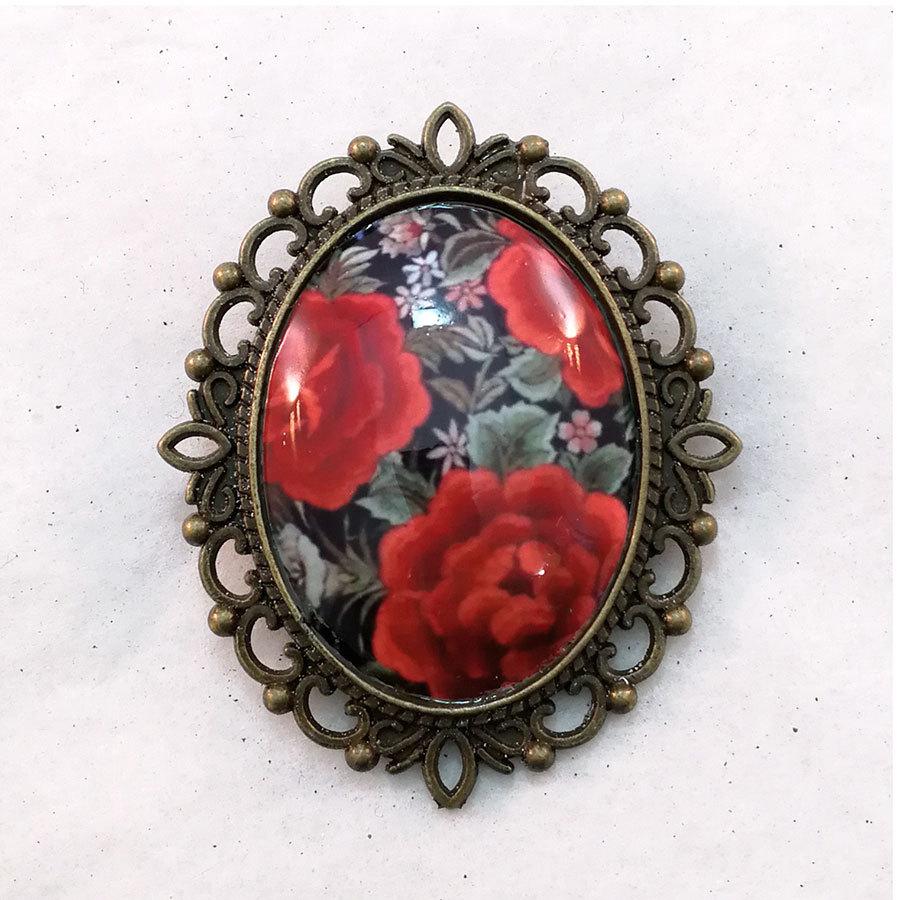 FE-Brc_PurezaRojo ブローチ マントン刺繍柄・赤系  スペイン製