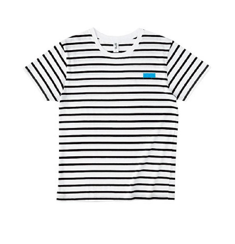 P.O.Pボックスロゴ刺繍 黒ボーダーTシャツ(ライトブルー/イエロー) - 画像1