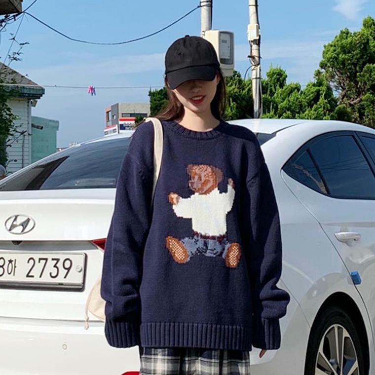 【送料無料】 秋冬カジュアルスタイル♡ オーバーサイズ ニット プルオーバー ゆるだぼ レトロ かわいい くま