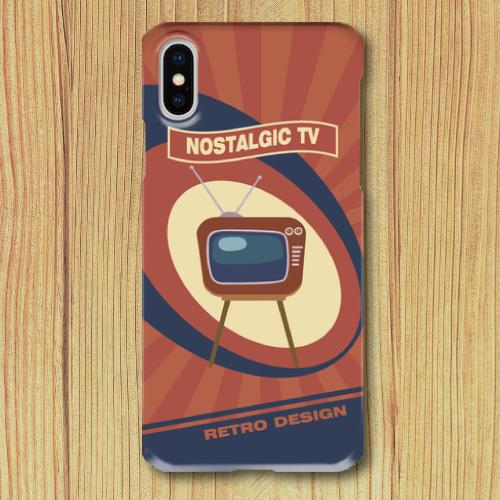 レトロポスター/TV/アメリカンポップ/レトロデザイン/ノスタルジック/オレンジ/iPhoneスマホケース(ハードケース)