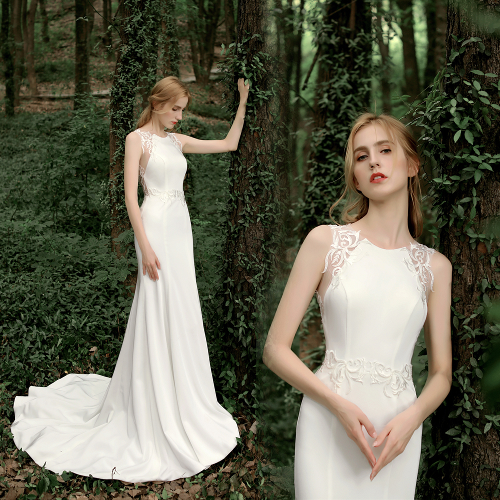 【DearWhite】ウェディングドレス Aライン プリンセス エンパイア デコルテ 結婚式 披露宴 二次会 パーティーウェディングドレス・カラードレス・サイズオーダー格安オーダーメイド DW00028