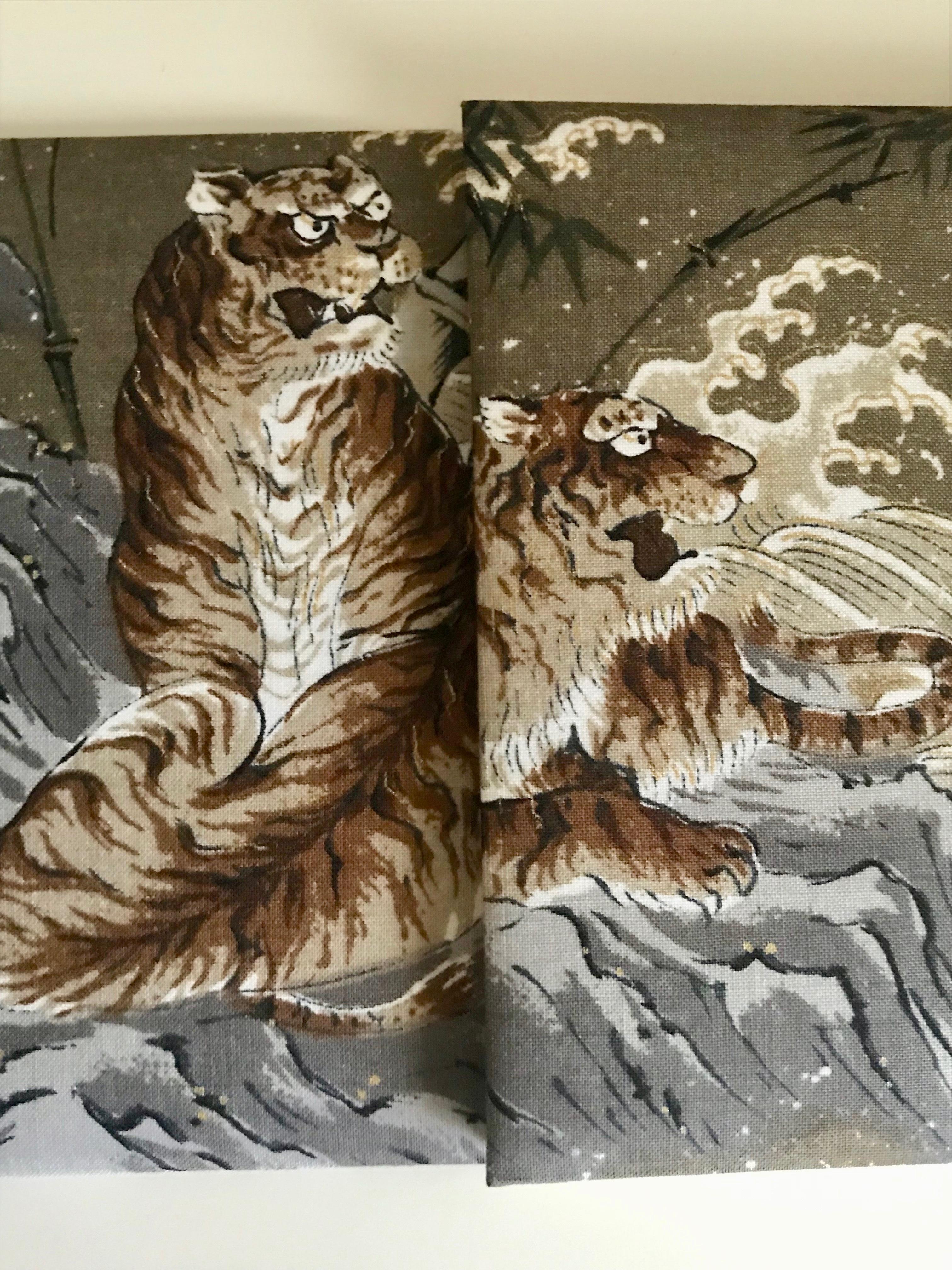 二頭の虎 御朱印帳(ビンテージ着物)