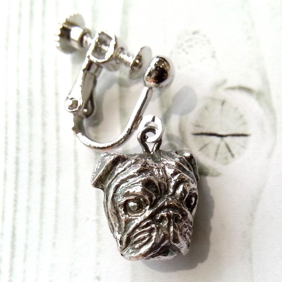パグ(Sサイズ)silver925 & イヤリング・真鍮生地ロジウムカラー(ペア)