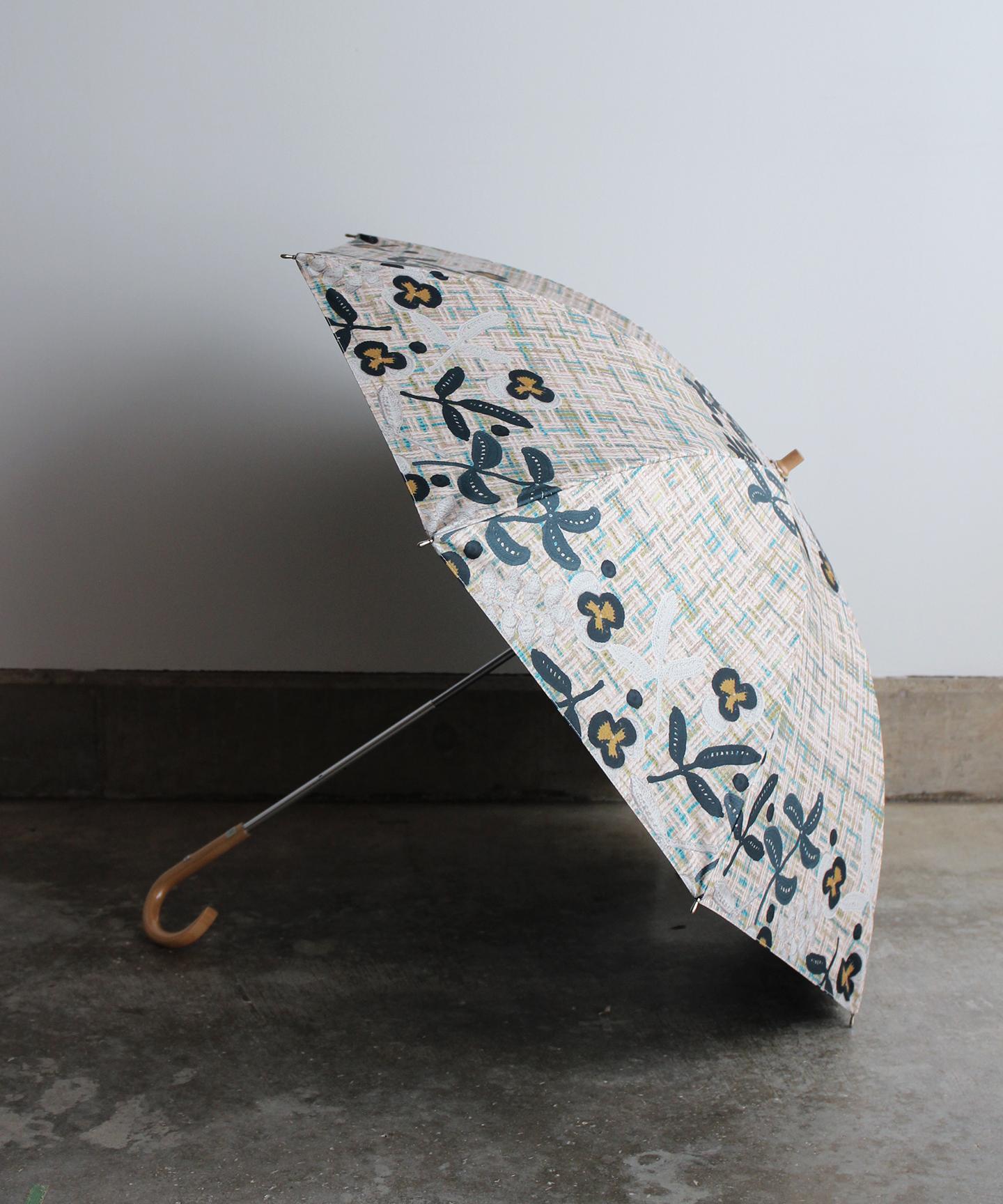 【チェック柄ニットモチーフプリント】晴雨兼用日傘 (ELS46 ネイビー・グリーン・ベージュ)