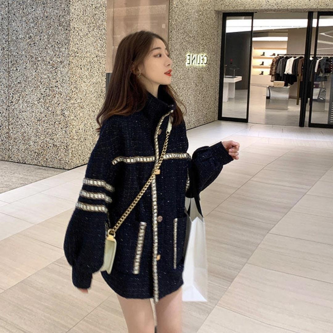 ロング丈 カジュアルゆったりジャケットセーター
