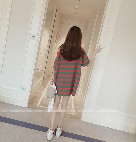 【在庫限り】カラフルボーダービッグTシャツ:レッドxグリーン