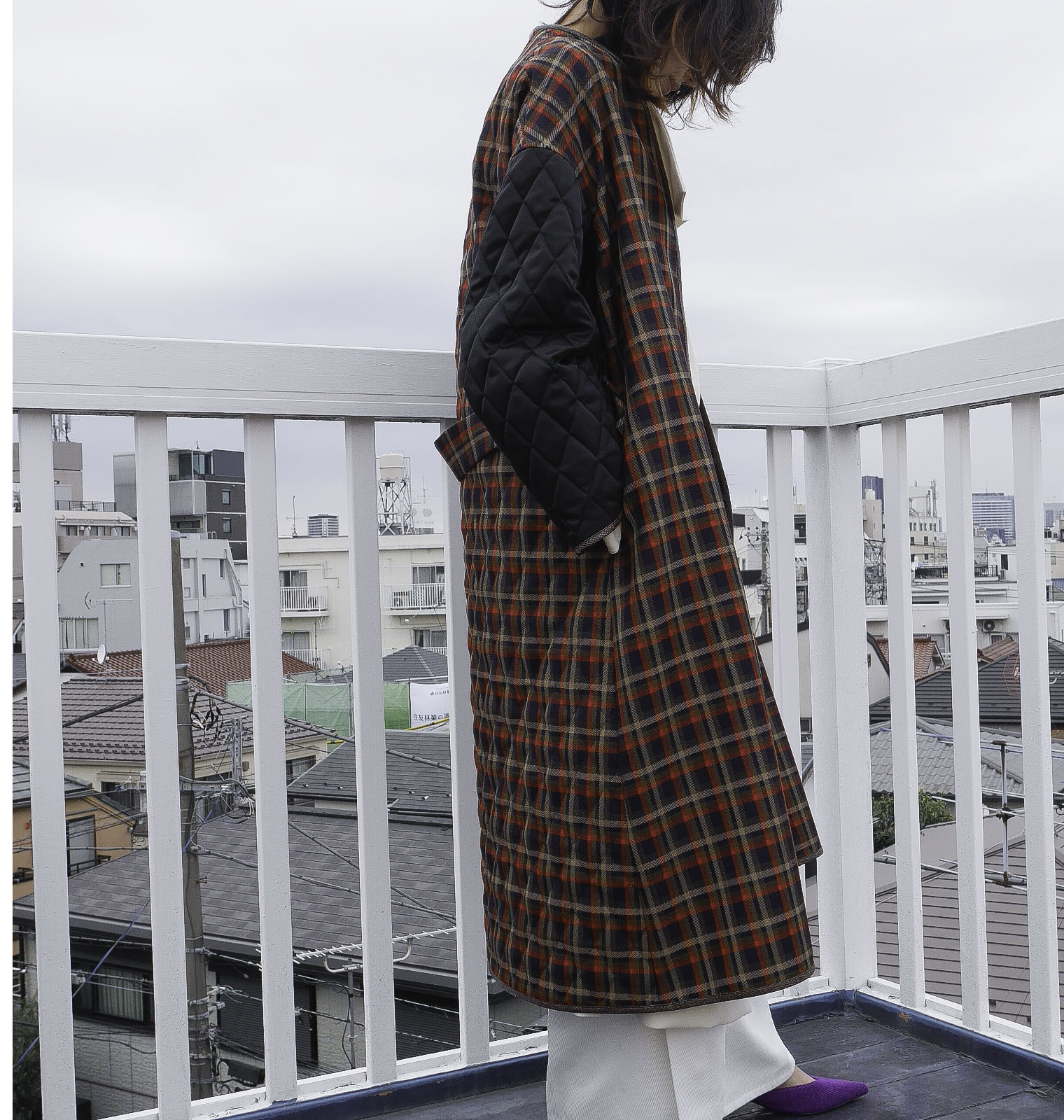VALENCIA CHECKD QUILTING COAT   / TARTAN CHECKD