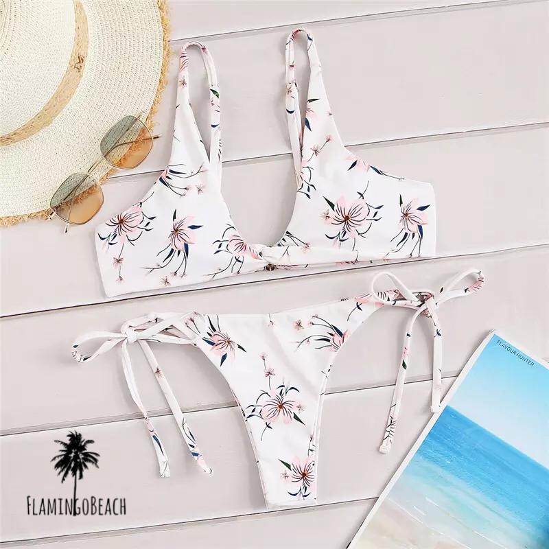 【FlamingoBeach】white flower bikini ビキニ