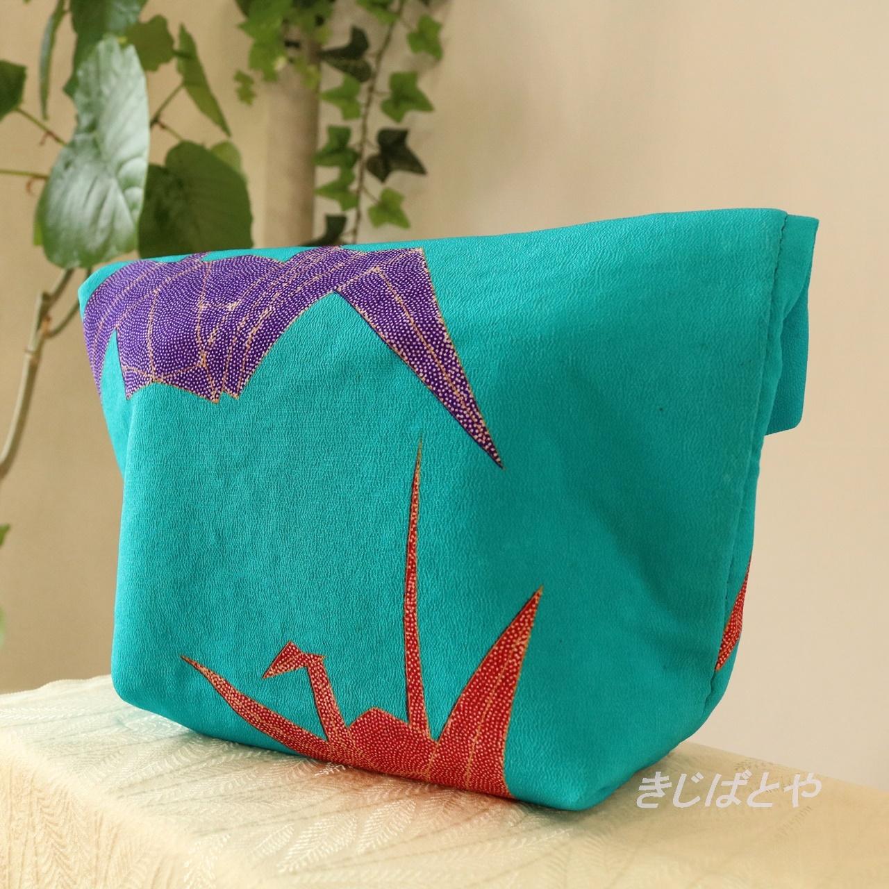 和裁士さんが考えたバッグインバッグ ピーコックブルーに折鶴/フラミンゴ色の更紗