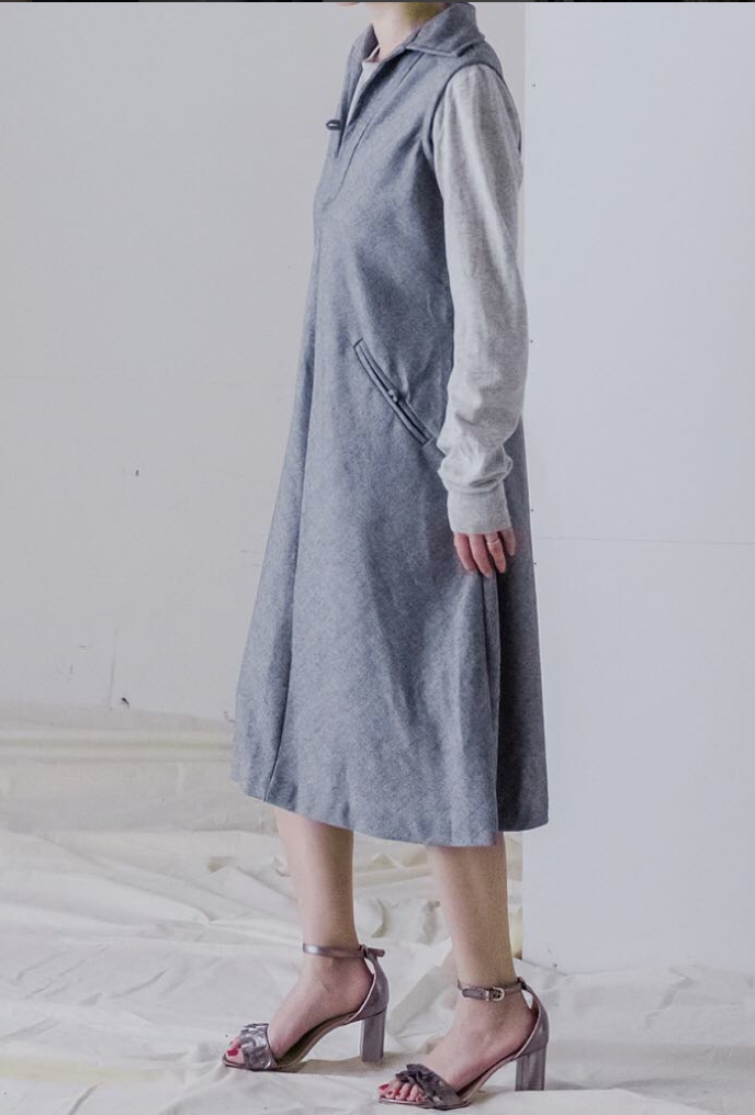70`s wool Gray Dress