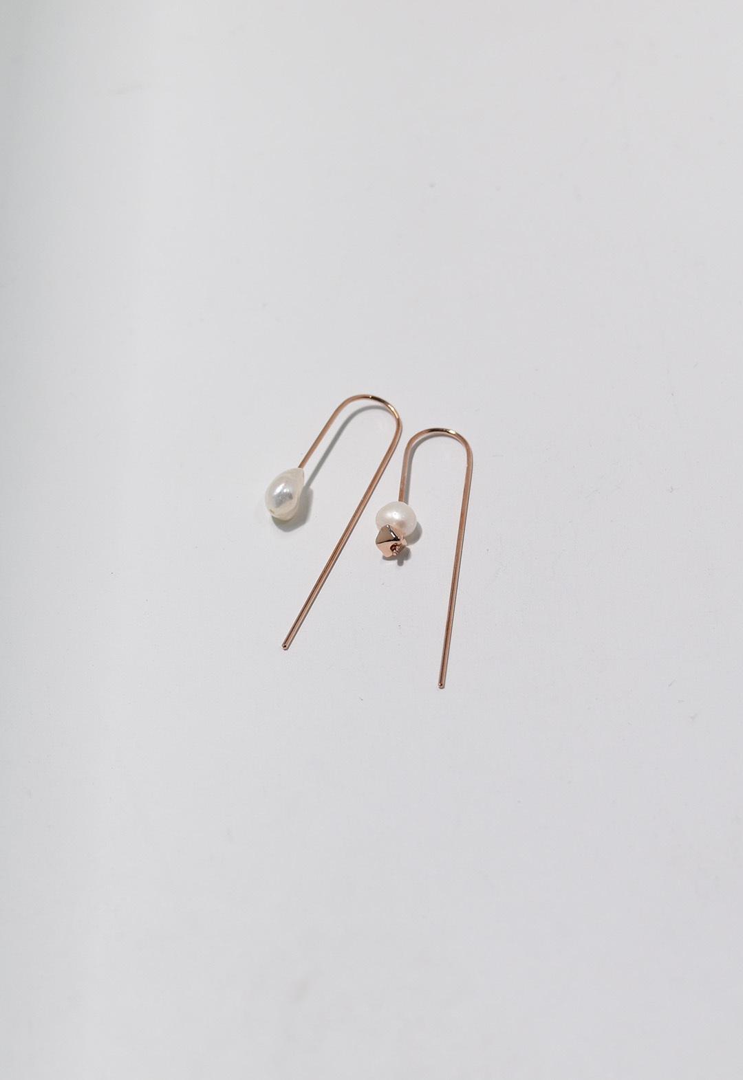 flesh water pearl umbrella pierce Pink Gold