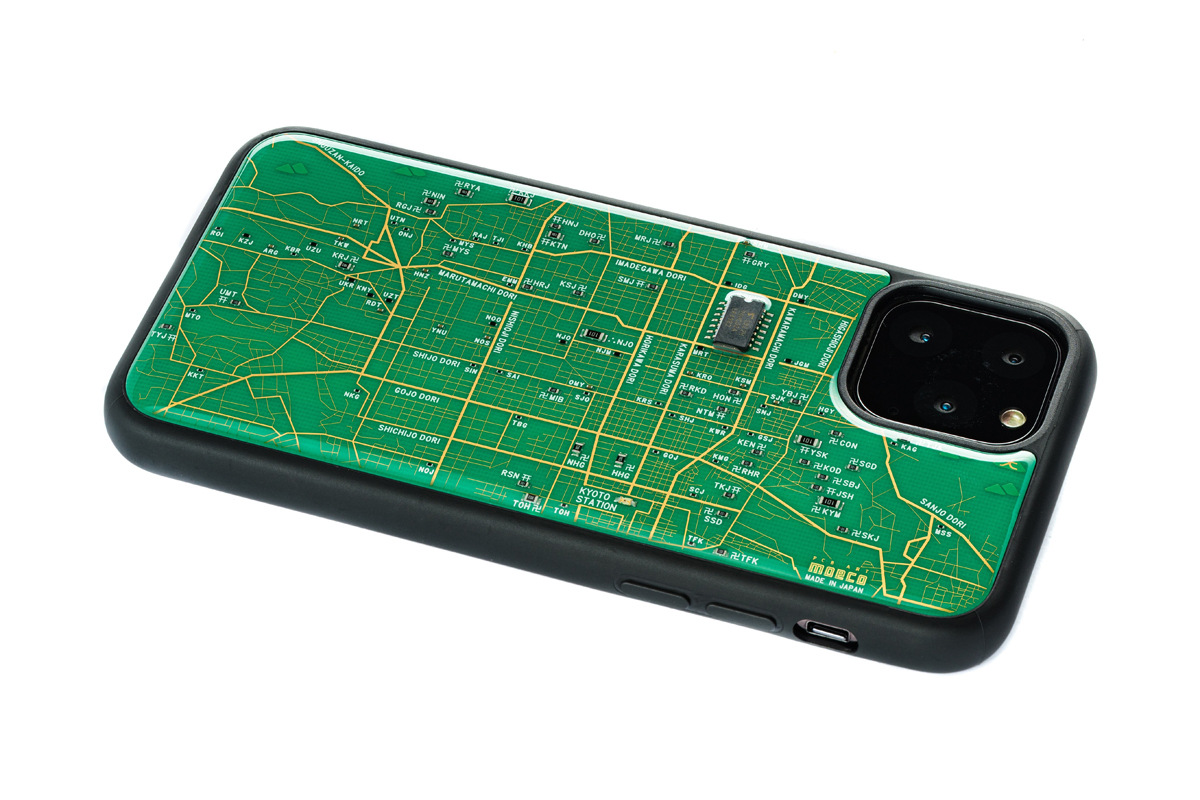 FLASH 京都回路地図 iPhone 11 Pro ケース  緑【東京回路線図A5クリアファイルをプレゼント】