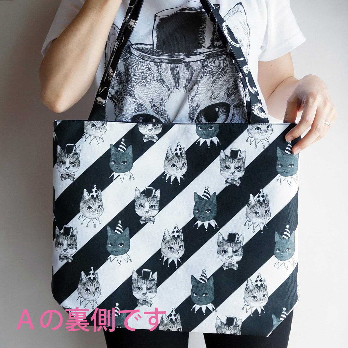 c9572b1cb370 【送料無料】 HANA circus original ファスナー付き トートバッグ 3種類 猫 はちわれ きじとら 黒猫 モノトーン