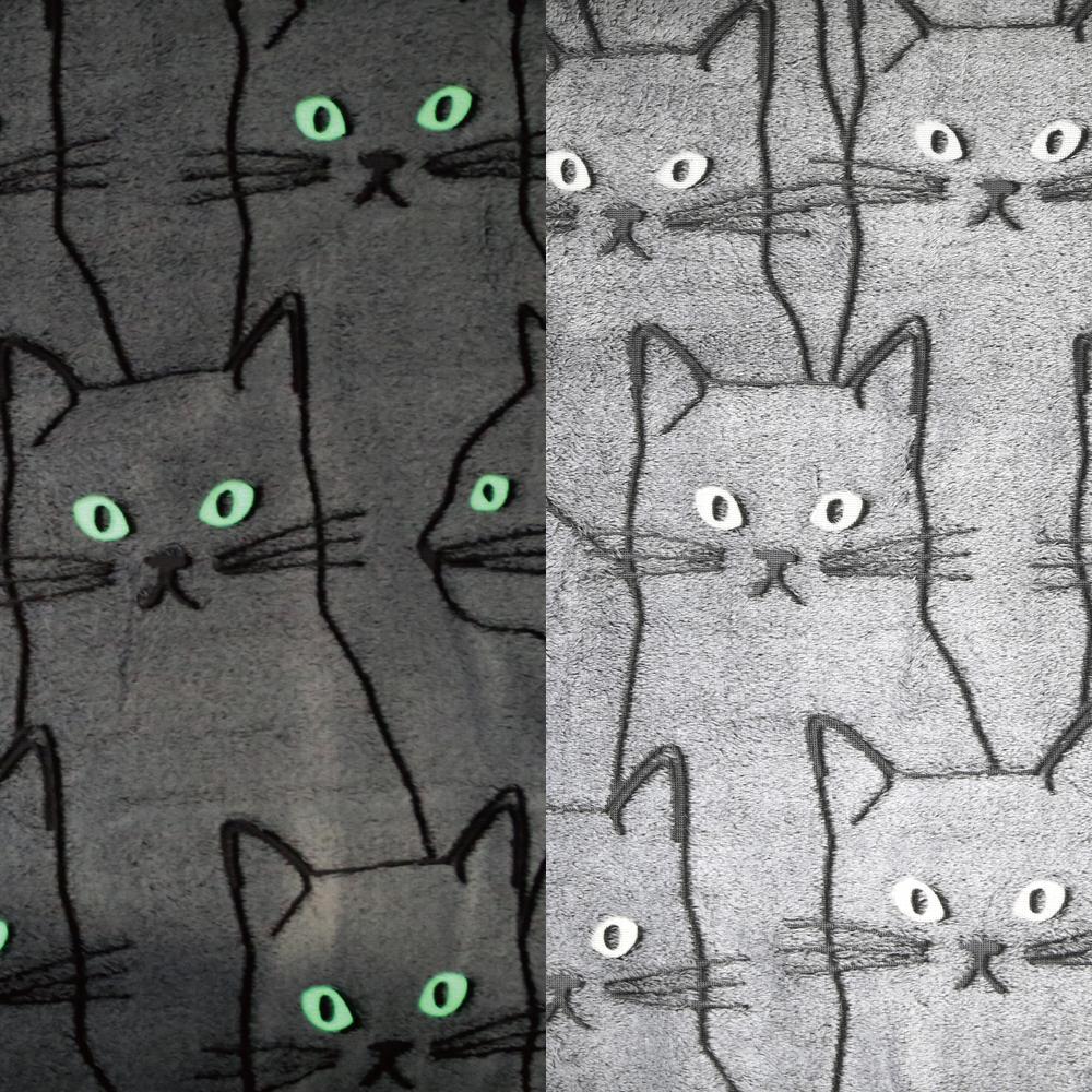 猫ブランケット(畜光ひざ掛け猫の目)