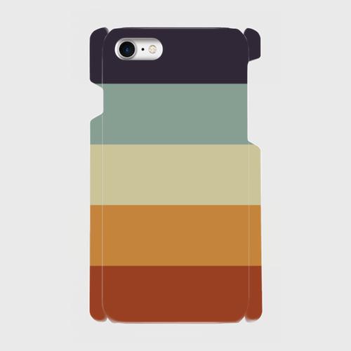 レトロストライプ(紺・水・薄緑・橙・赤) / iPhoneスマホケース(ハードケース)