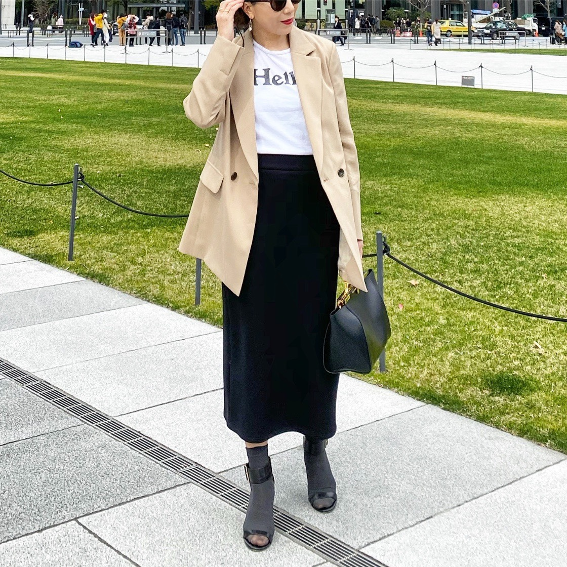 KU-UM×chiyo ボンディングタイトスカート ブラック