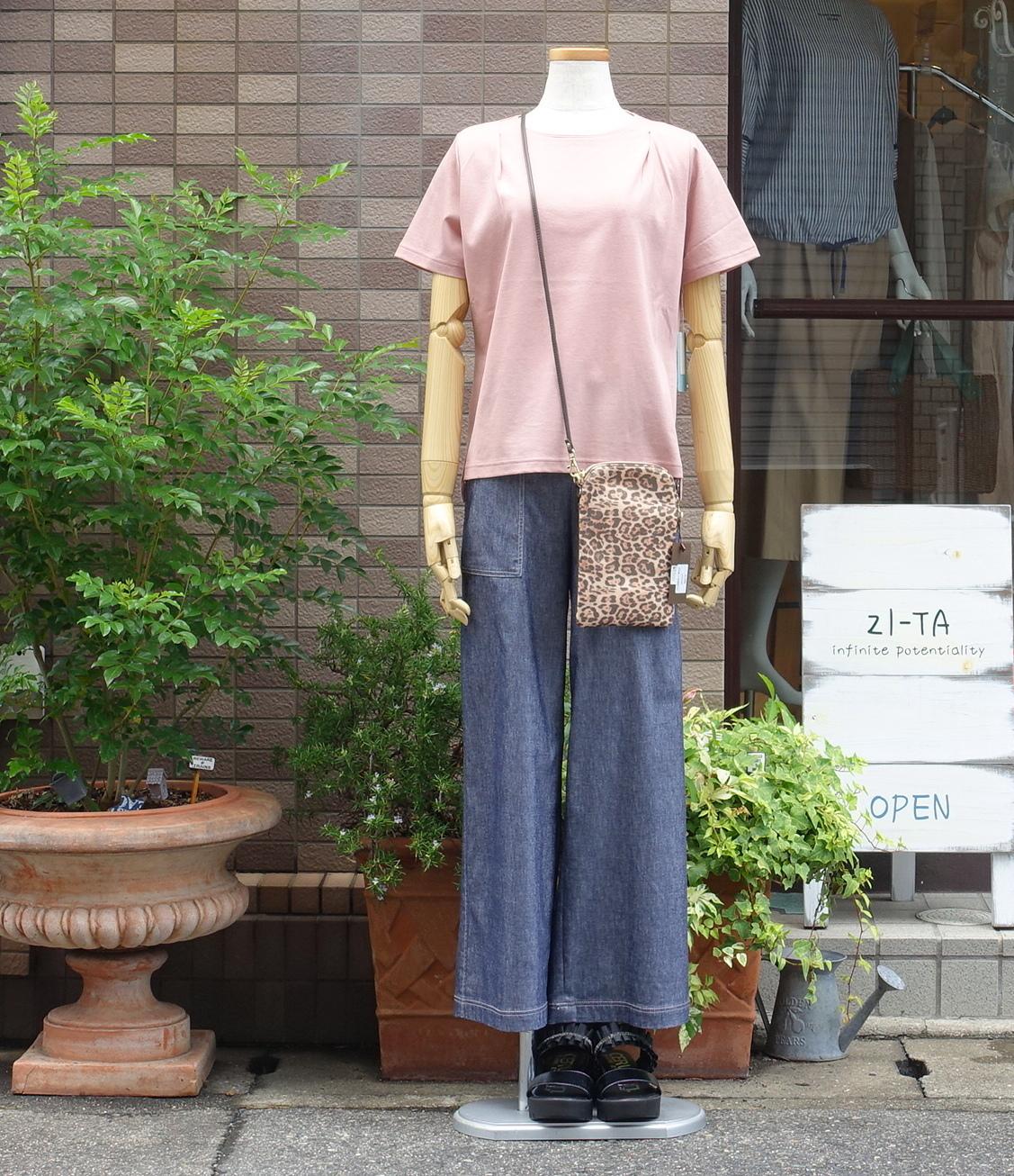 21102  麻混Tシャツ/ピンク
