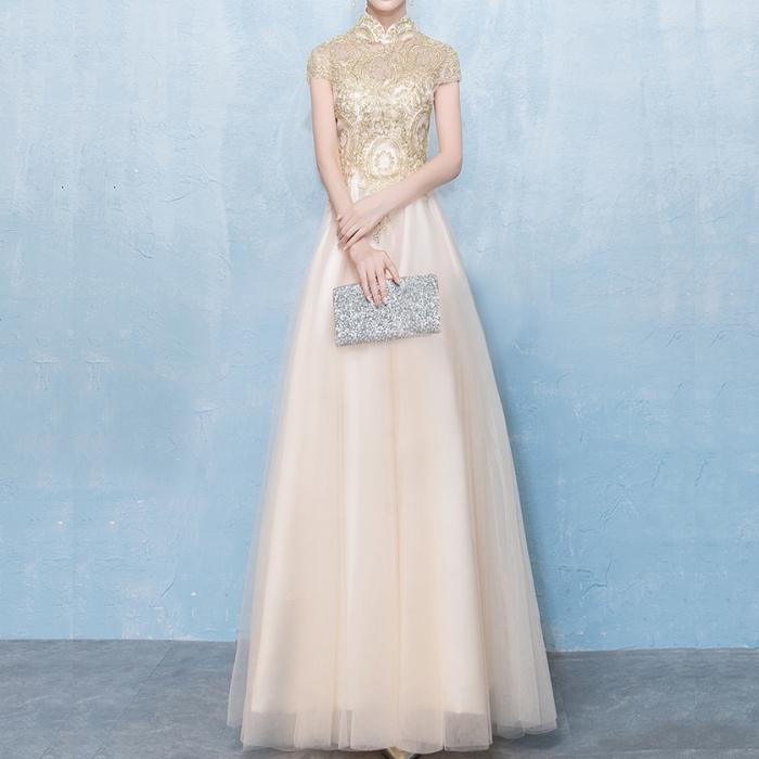 ゴールド刺繍 立ち襟 ロングドレス