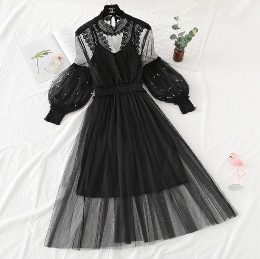 ランタンスリーブオーガンジードレス