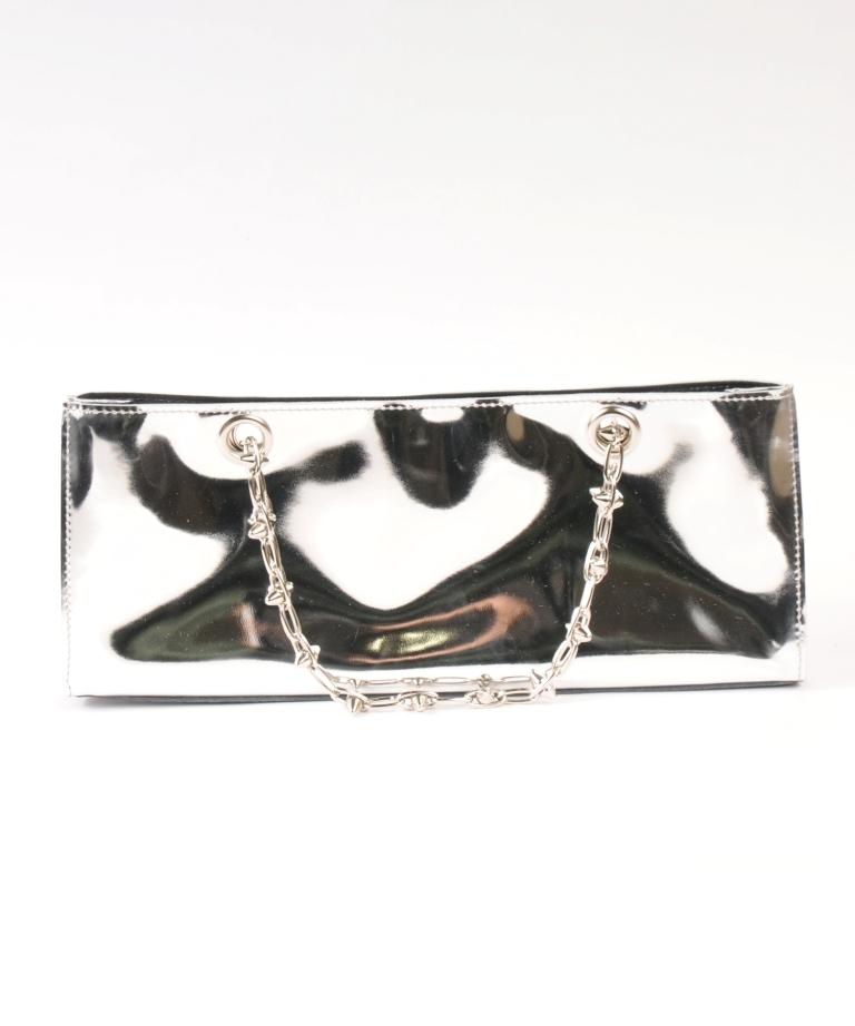 df18SM-FG09 MIRROR LEATHER SQUARE BAG(silver)