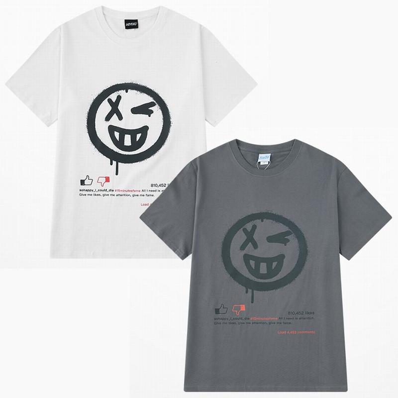ユニセックス Tシャツ 半袖 メンズ レディース ラウンドネック ウインク ニコちゃん GOOD BAD プリント オーバーサイズ 大きいサイズ ルーズ ストリート
