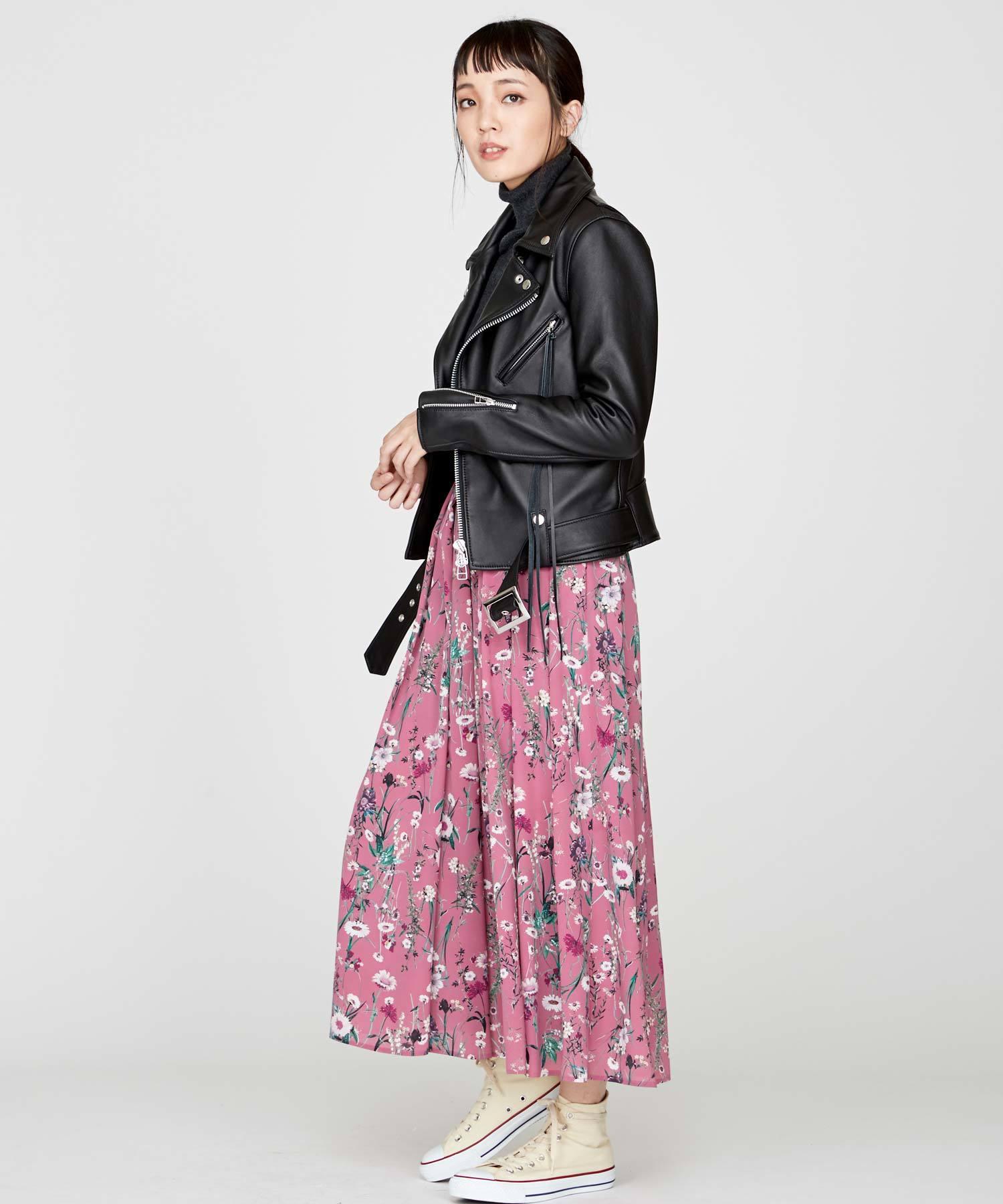 ボタニカル花柄スカート(ピンク)