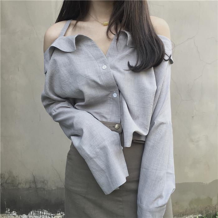 【tops】セクシー無地Vネックシャツ12969314