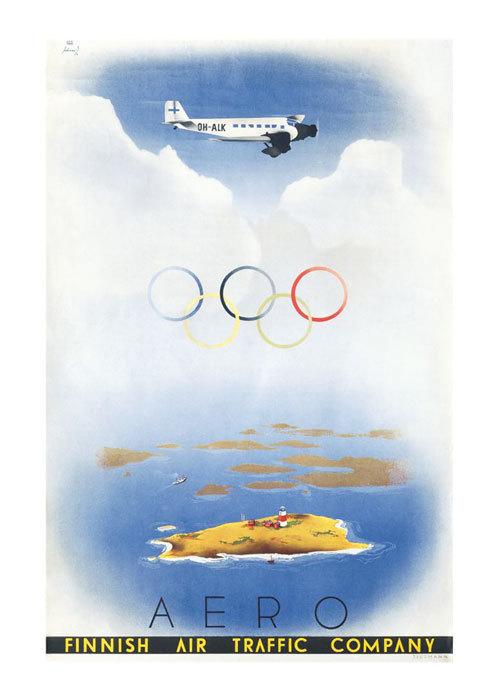 "Come to Finland カムトゥフィンランド インテリア レトロ A4 アートポスター ""オリンピック・アエロ"""