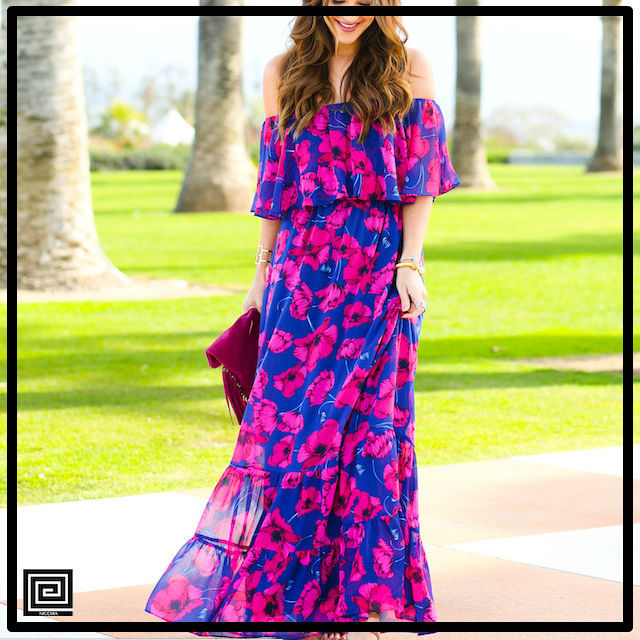 オフショルダーフリルロングシフォンビーチドレス