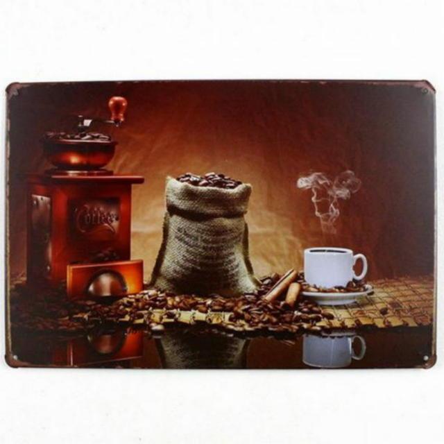 【ブリキ看板】コーヒー豆・コーヒーミル 小型版[C43127]