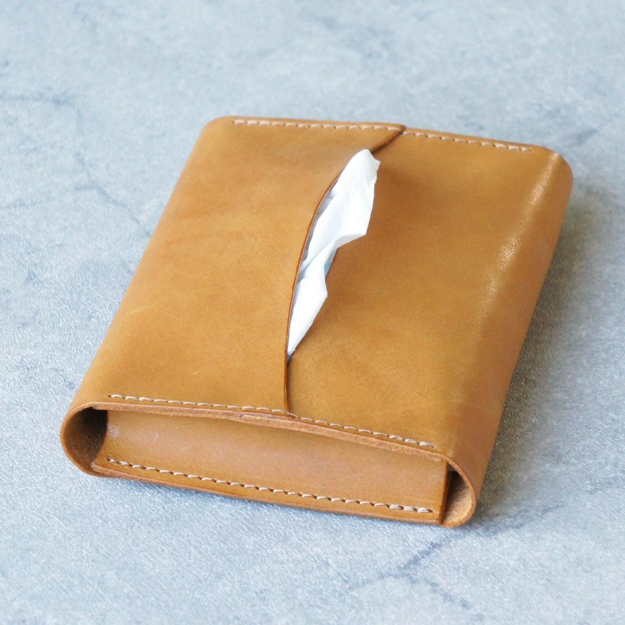 卓上本革ポケットティッシュケース【イエロー】(ティッシュ2個収納可)